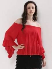 koovs-flair-sleeve-bobble-trim-off-shoulder-top