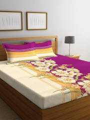 portico-new-york-purple-beige-floral-flat-144-tc-cotton-1-queen-bedsheet-with-2-pillow-covers