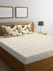 portico-new-york-beige-white-abstract-flat-144-tc-cotton-1-queen-bedsheet-with-2-pillow-covers