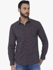mufti-men-grey-pink-slim-fit-printed-casual-shirt