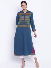 biba-women-teal-blue-burgundy-solid-layered-a-line-kurta