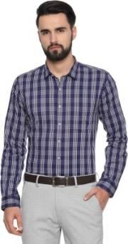 van-heusen-men-checkered-formal-blue-shirt