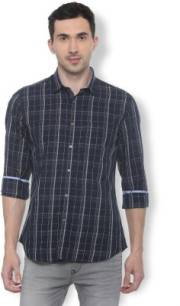 van-heusen-men-checkered-casual-dark-blue-shirt