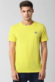 peter-england-solid-men-round-neck-yellow-t-shirt