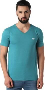 peter-england-solid-men-v-neck-blue-t-shirt