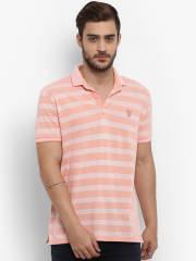 mufti-men-peach-coloured-striped-polo-collar-t-shirt