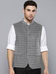 louis-philippe-grey-black-checked-nehru-jacket