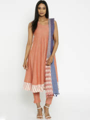 biba-rust-orange-anarkali-kurta-with-trousers-dupatta