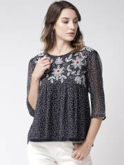 antheaa-women-navy-off-white-printed-a-line-top