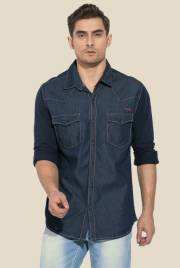 mufti-blue-solid-full-sleeve-shirt
