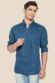 mufti-blue-button-down-collar-shirt