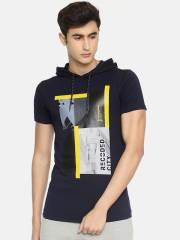mufti-men-navy-blue-printed-hooded-t-shirt