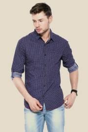 mufti-navy-printed-slim-fit-shirt