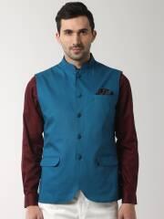peter-england-men-blue-solid-woven-nehru-jacket