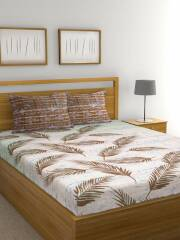 raymond-home-off-white-brown-floral-104-tc-cotton-1-queen-bedsheet-with-2-pillow-covers
