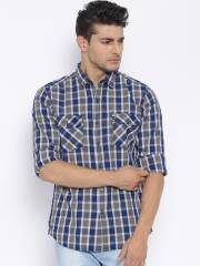 flying-machine-blue-grey-checked-casual-shirt