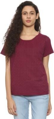 van-heusen-casual-regular-sleeve-laser-cut-women-maroon-top