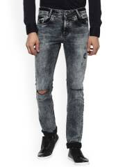 mufti-men-charcoal-black-slim-fit-mid-rise-slash-knee-jeans