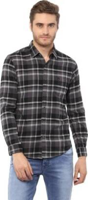 mufti-men-checkered-casual-grey-shirt-1