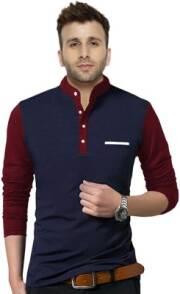 fastcolors-solid-men-mandarin-collar-dark-blue-maroon-t-shirt-2