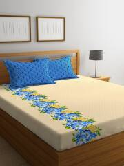 portico-new-york-beige-floral-flat-144-tc-cotton-1-queen-bedsheet-with-2-pillow-covers-2