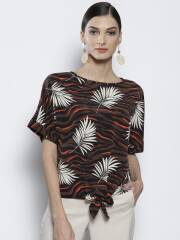 dorothy-perkins-women-brown-off-white-printed-styled-back-top